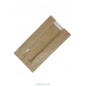 Пакет бумажный крафт с прозрачным окном в . ..,